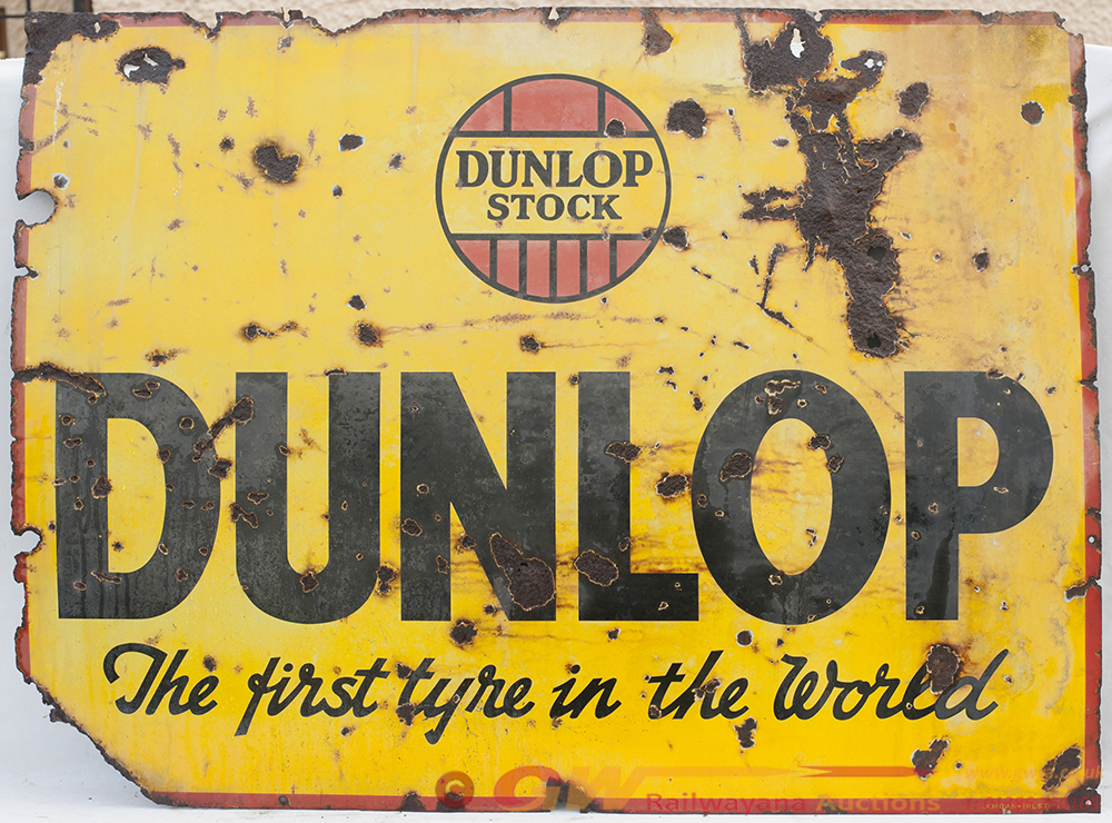 Enamel Advertising Sign. DUNLOP STOCK. THE FIRST