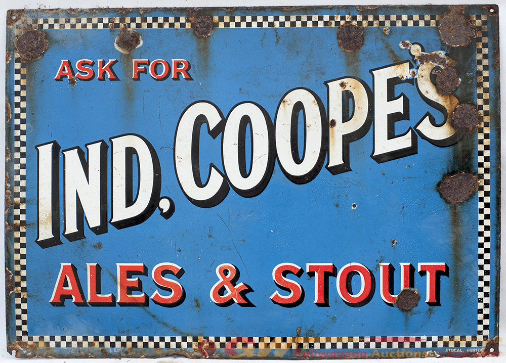 Enamel Advertising Sign. ASK FOR IND, COOPE'S ALES