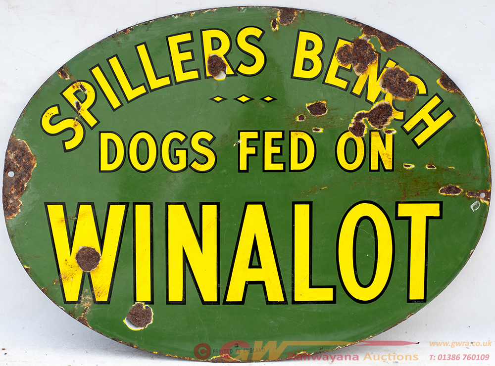 Enamel Advertising Sign. SPILLERS BENCH DOGS FEED