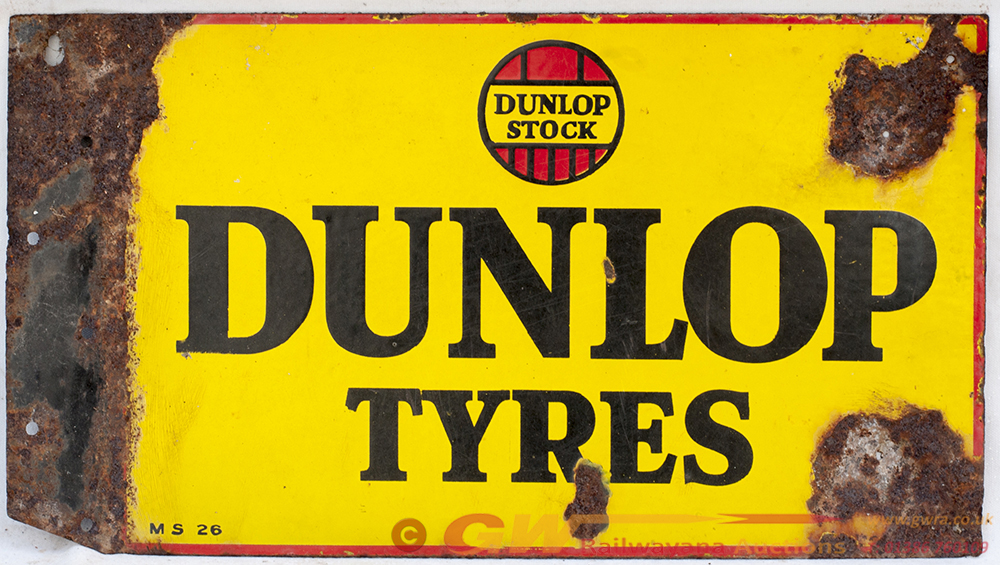 Enamel Double Sided Advertising Sign. DUNLOP STOCK