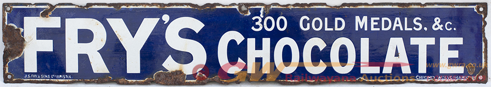 Enamel Advertising Sign. FRY'S CHOCOLATE 300 GOLD