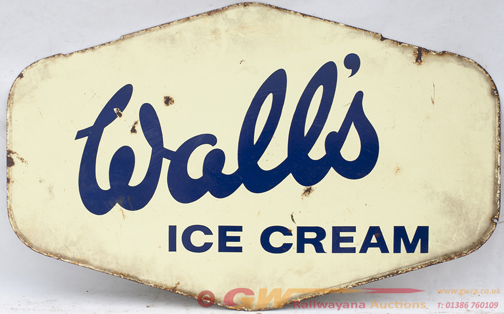 Enamel Double Sided Advertising Sign. WALL'S ICE
