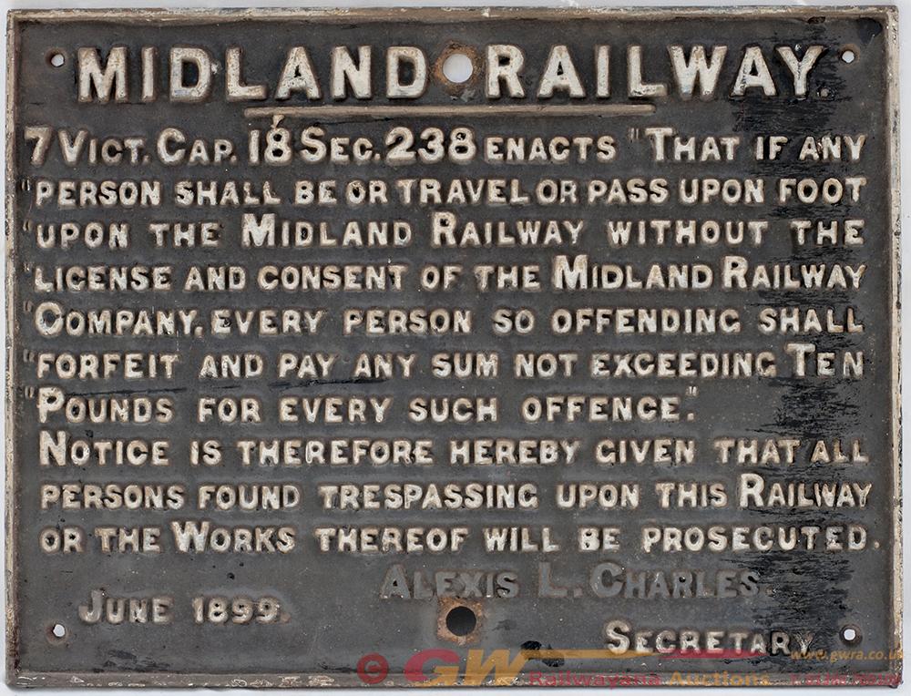 Midland Railway Cast Iron TRESPASS Sign. Recovered