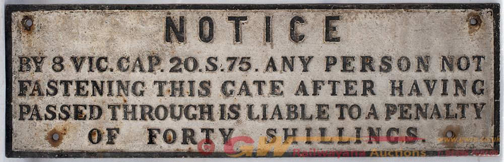 GWR Untitled GATE NOTICE. Original Condition.
