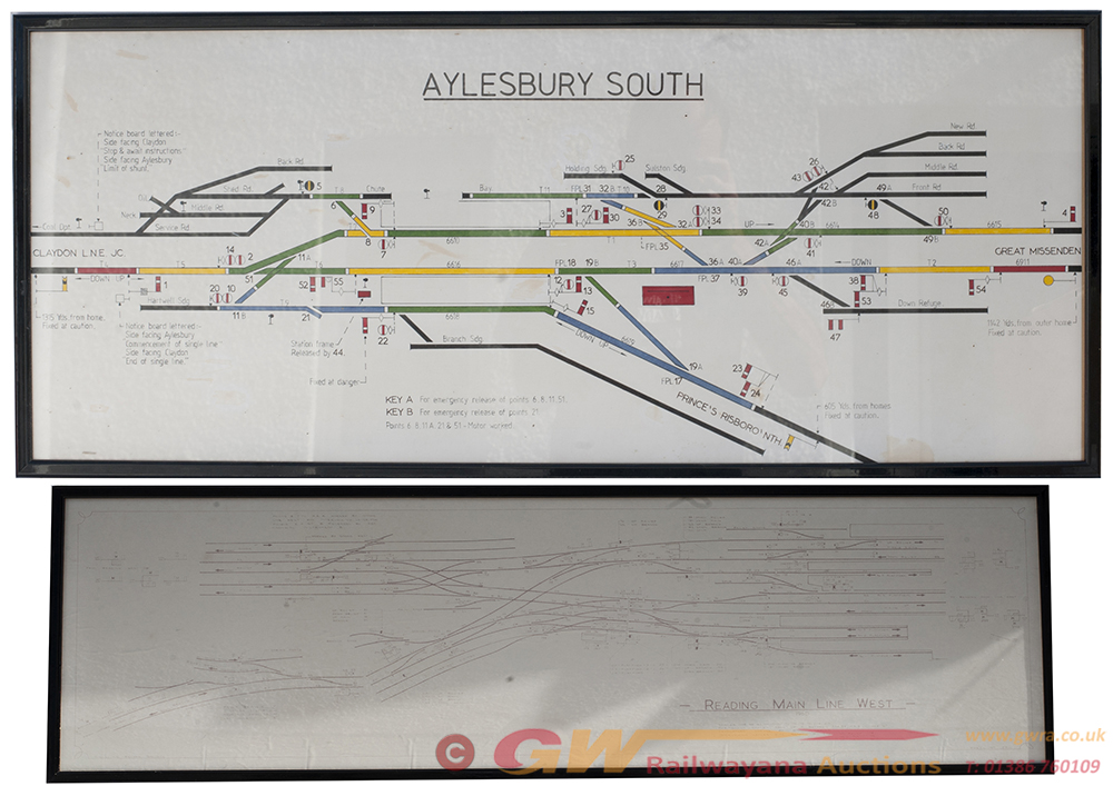 2 X Reframed And Glazed SIGNALBOX DIAGRAMS.