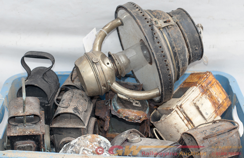 A Collection Of Well Used Railway Lamps To Include
