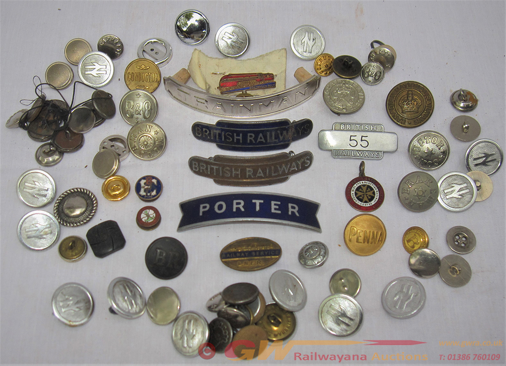 A Collection Of British Rail Badges And Buttons