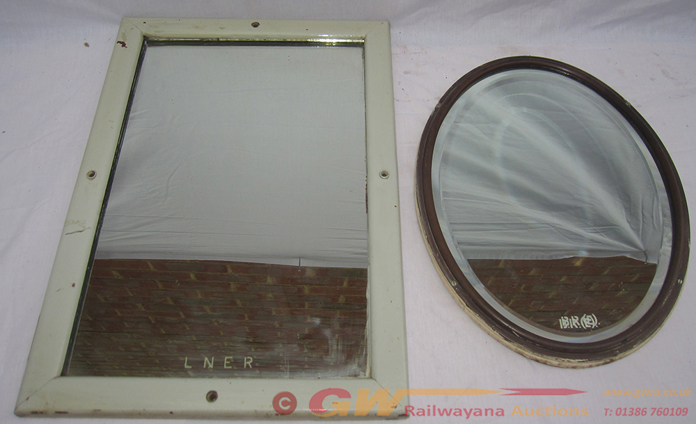 2 X Railway Carriage Mirrors. One Oval Marked