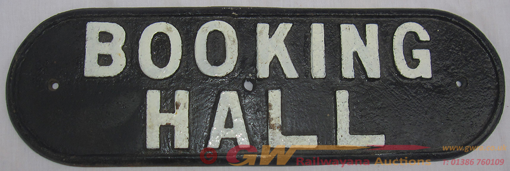 LNER Cast Iron Door Plate BOOKING HALL. The Sign