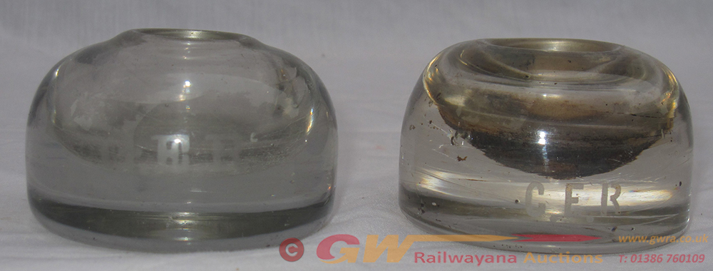 2 X GER Glass Ink Wells Marked On Front GER In