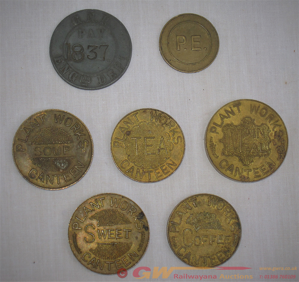 A Set Of 5 X Doncaster Works Brass CANTEEN TOKENS.