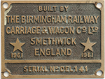 Cabplate BUILT BY THE BIRMINGHAM RAILWAY CARRIAGE - select image 1
