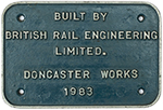 Worksplate BUILT BY BRITISH RAIL ENGINEERING - select image 1