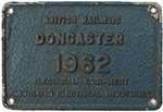 Worksplate BRITISH RAILWAYS DONCASTER 1962 - select image 1