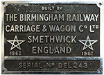 Worksplate BUILT BY THE BIRMINGHAM RAILWAY - select image 1
