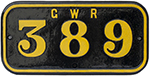 GWR Cast Iron Cabside Numberplate GWR 389 Ex Taff - select image 1