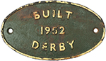 Worksplate BUILT 1952 DERBY Ex BR Diesel Class 08 - select image 1