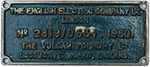 Worksplate THE ENGLISH ELECTRIC COMPANY LTD THE - select image 1