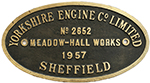 Worksplate YORKSHIRE ENGINE CO LIMITED MEADOW-HALL - select image 1