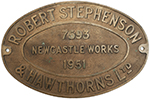Worksplate ROBERT STEPHENSON & HAWTHORNS LTD - select image 1