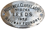 Worksplate HUDSWELL, CLARKE & CO LTD RAILWAY - select image 1