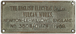 Worksplate THE ENGLISH ELECTRIC CO LTD VULCAN - select image 1