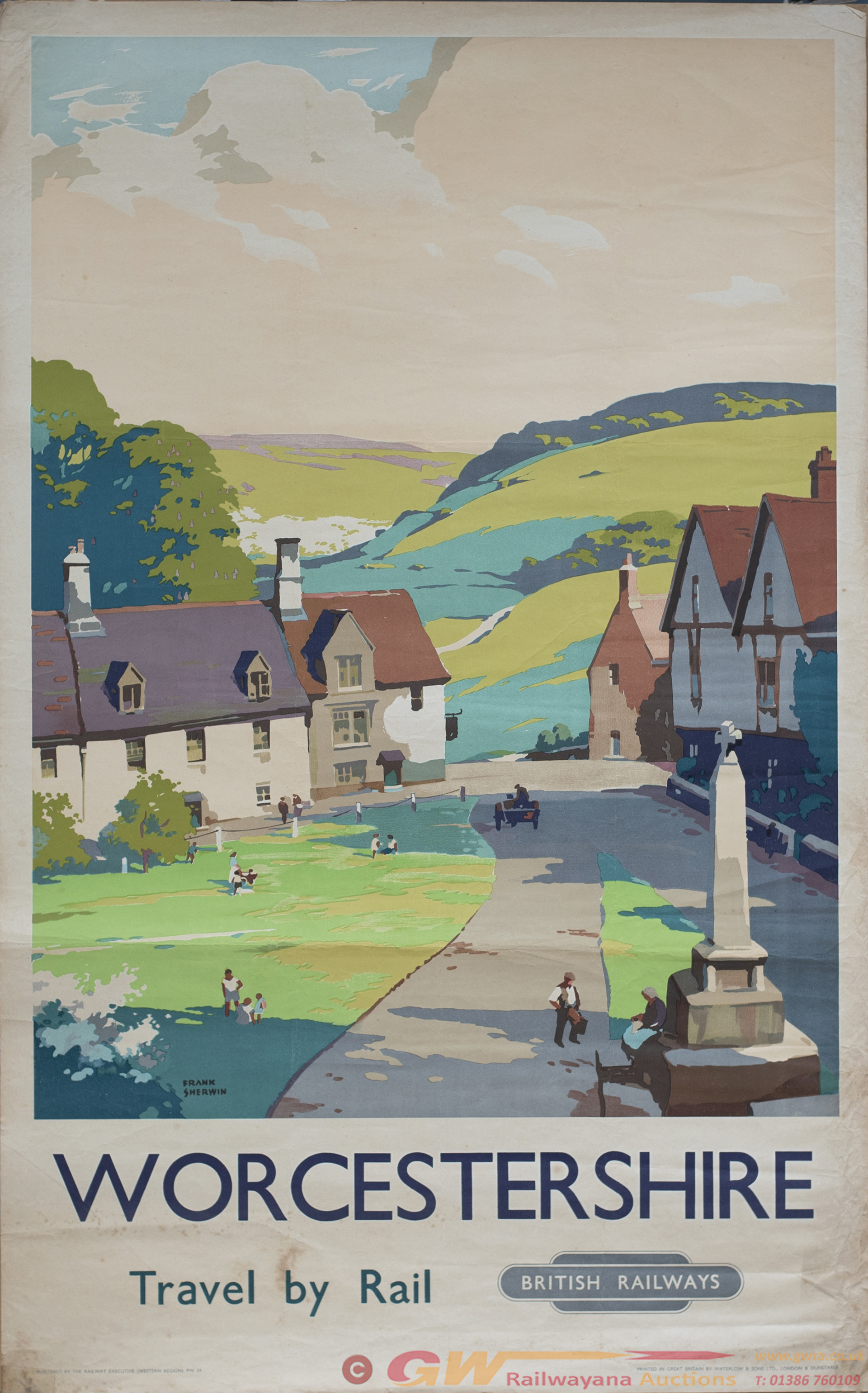 Poster BR(W) WORCESTERSHIRE TRAVEL BY RAIL By