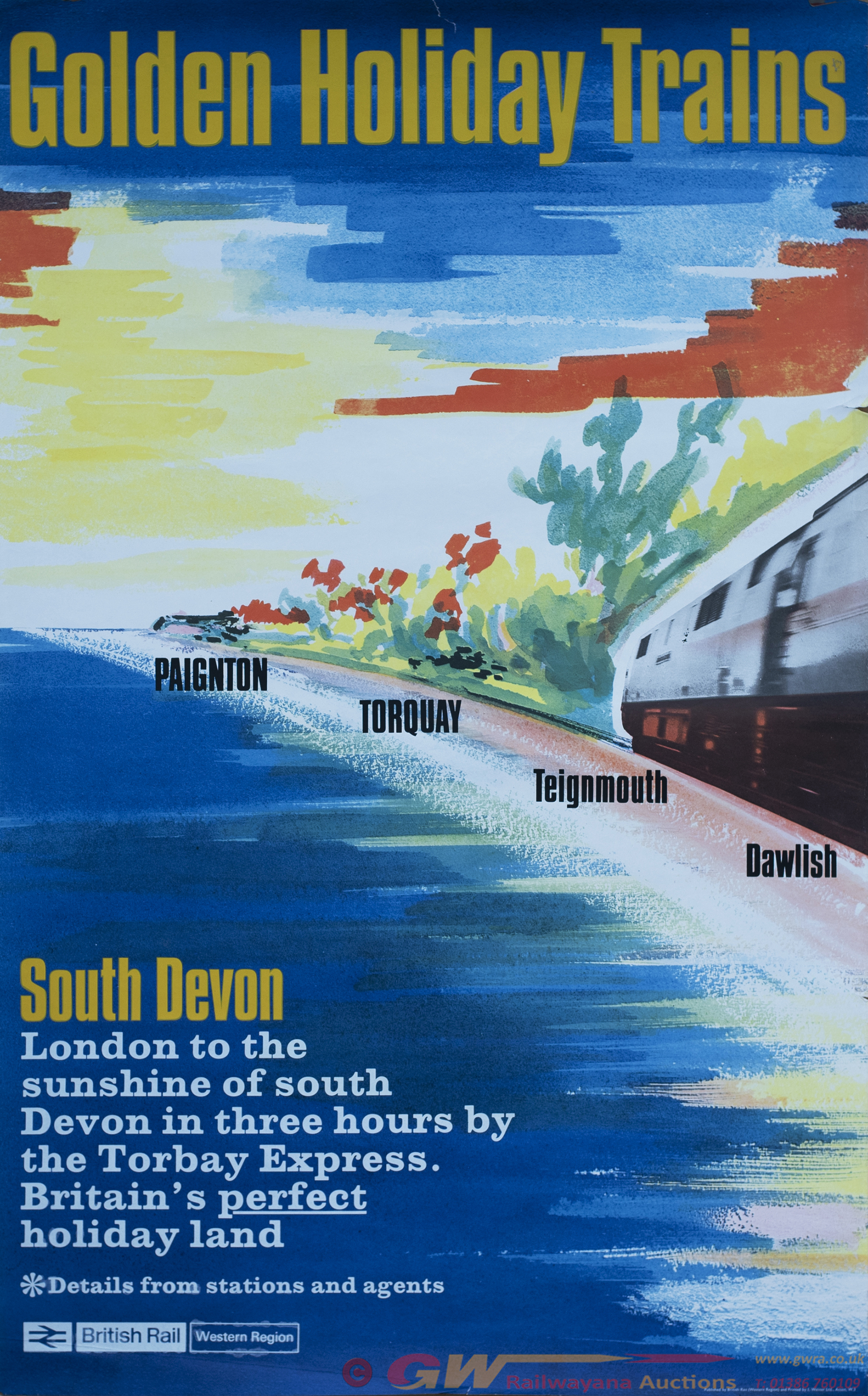 Poster BR(W) GOLDEN HOLIDAY TRAINS PAIGNTON