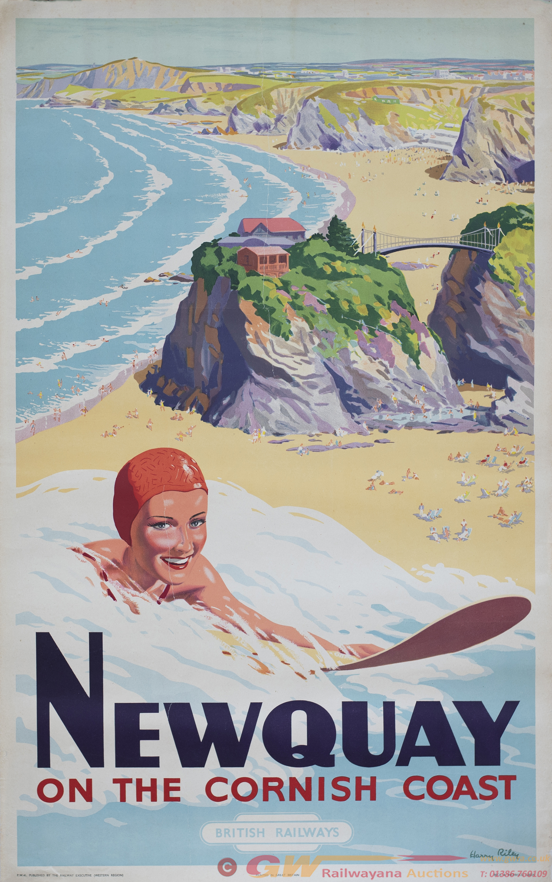 Poster BR(W) NEWQUAY ON THE CORNISH COAST By Harry