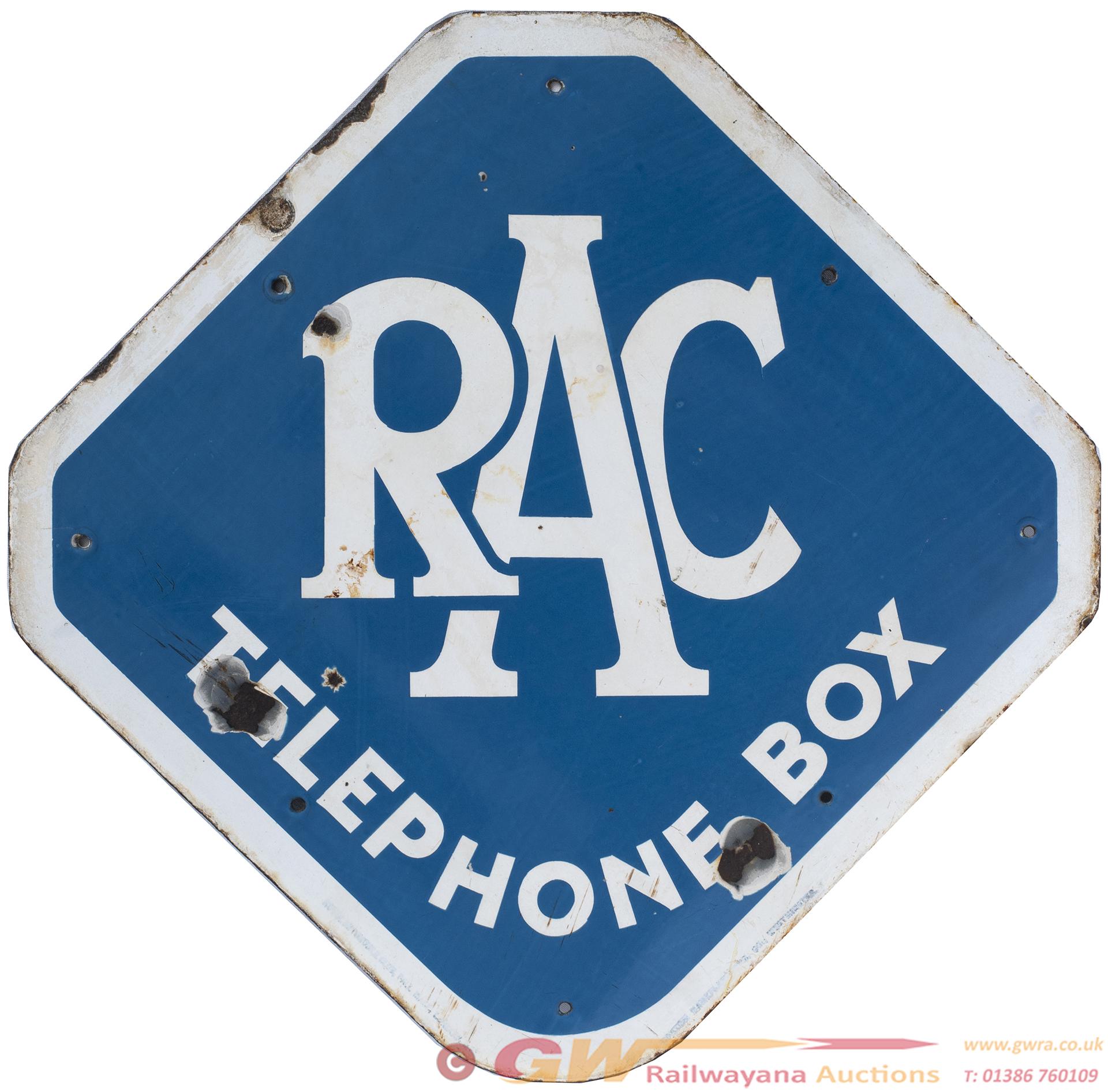Motoring Enamel Sign RAC TELEPHONE BOX. In Good