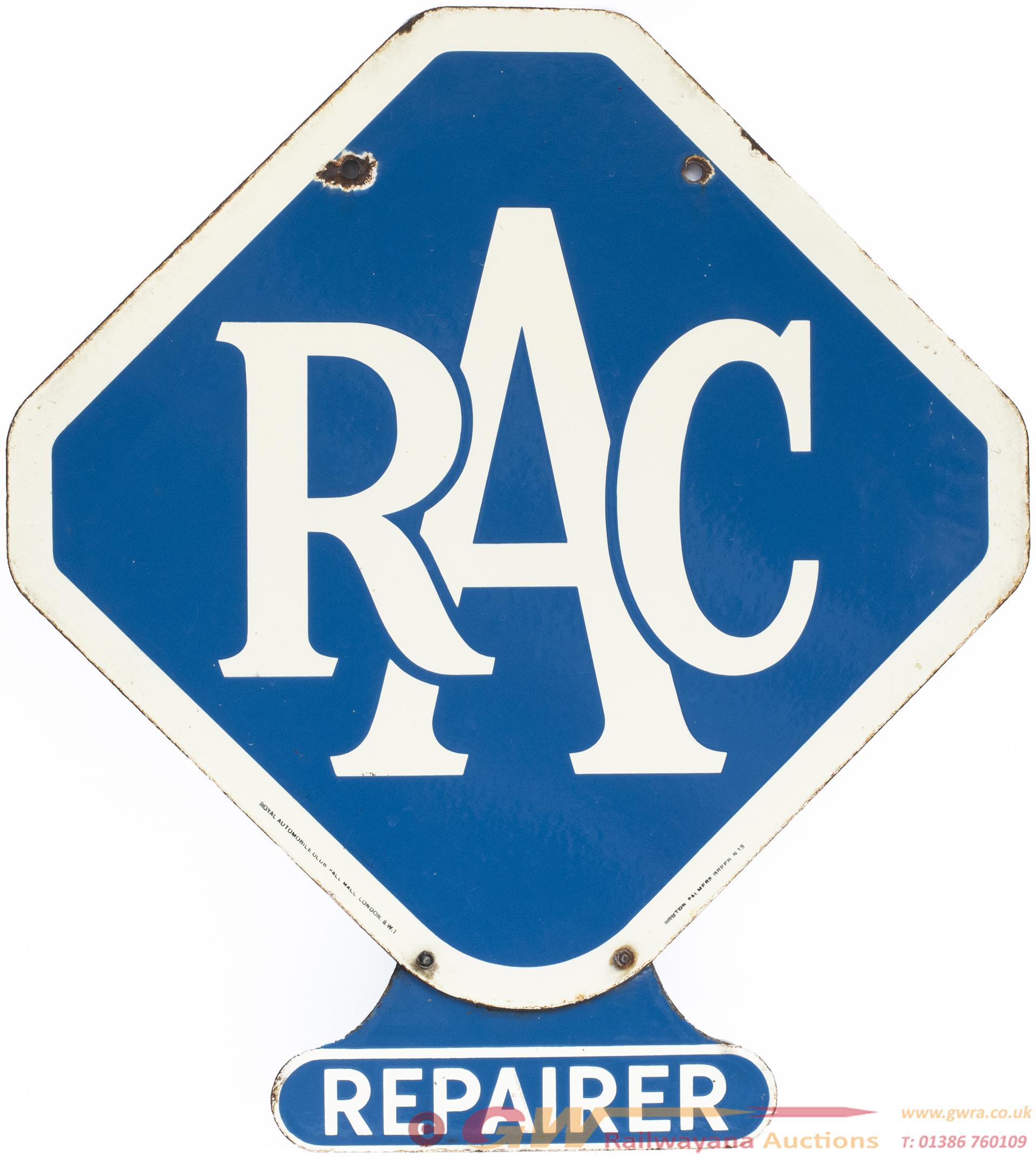 Motoring Enamel Sign RAC REPAIRER. Double Sided,