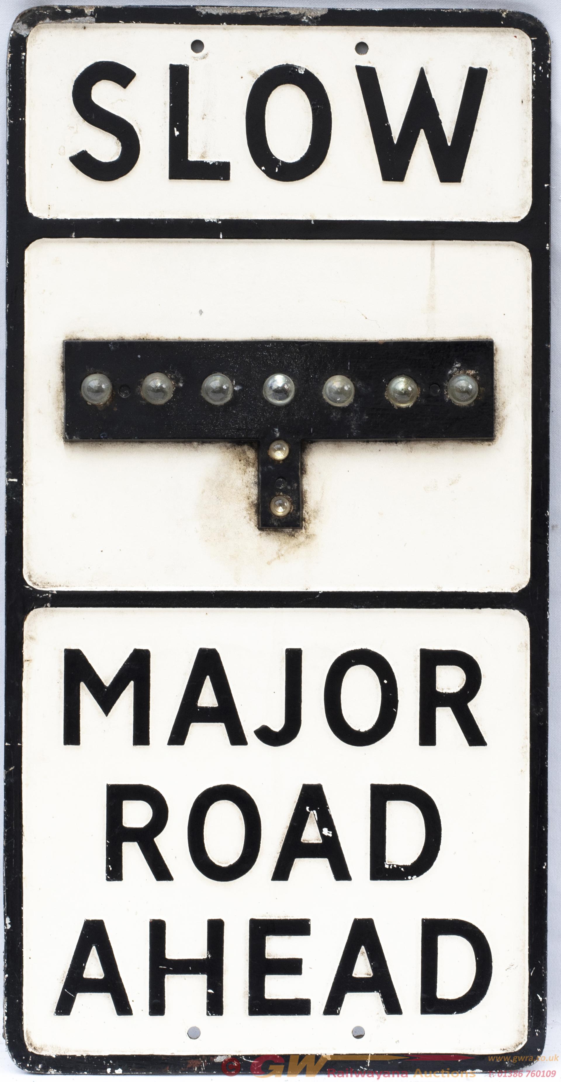 Motoring Road Sign SLOW MAJOR ROAD AHEAD. In