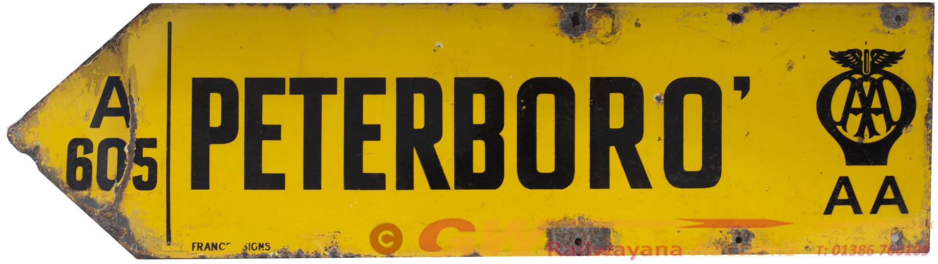 Motoring Enamel Sign AA PETERBORO a605. Double