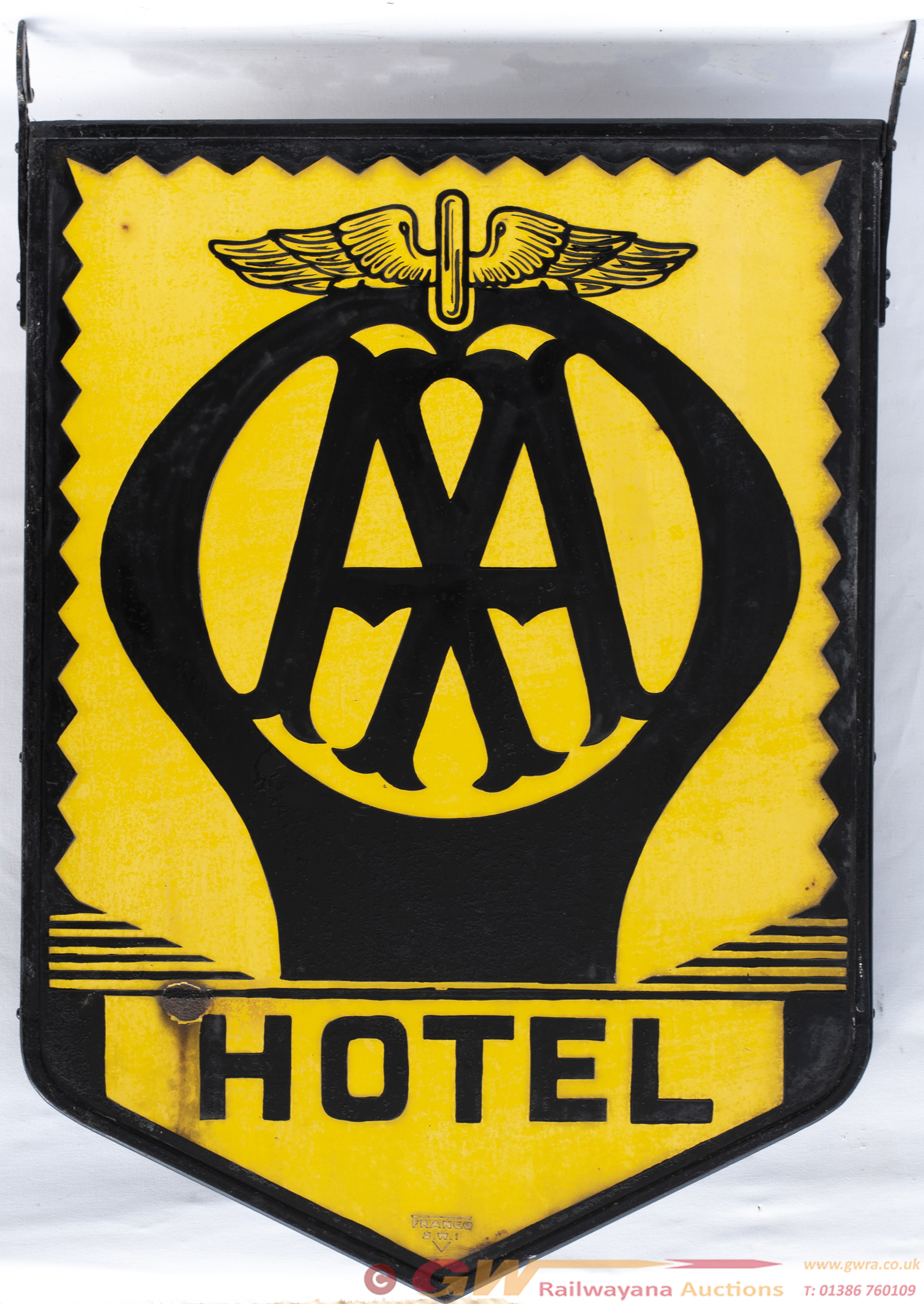 Motoring Enamel Sign AA HOTEL. Double Sided