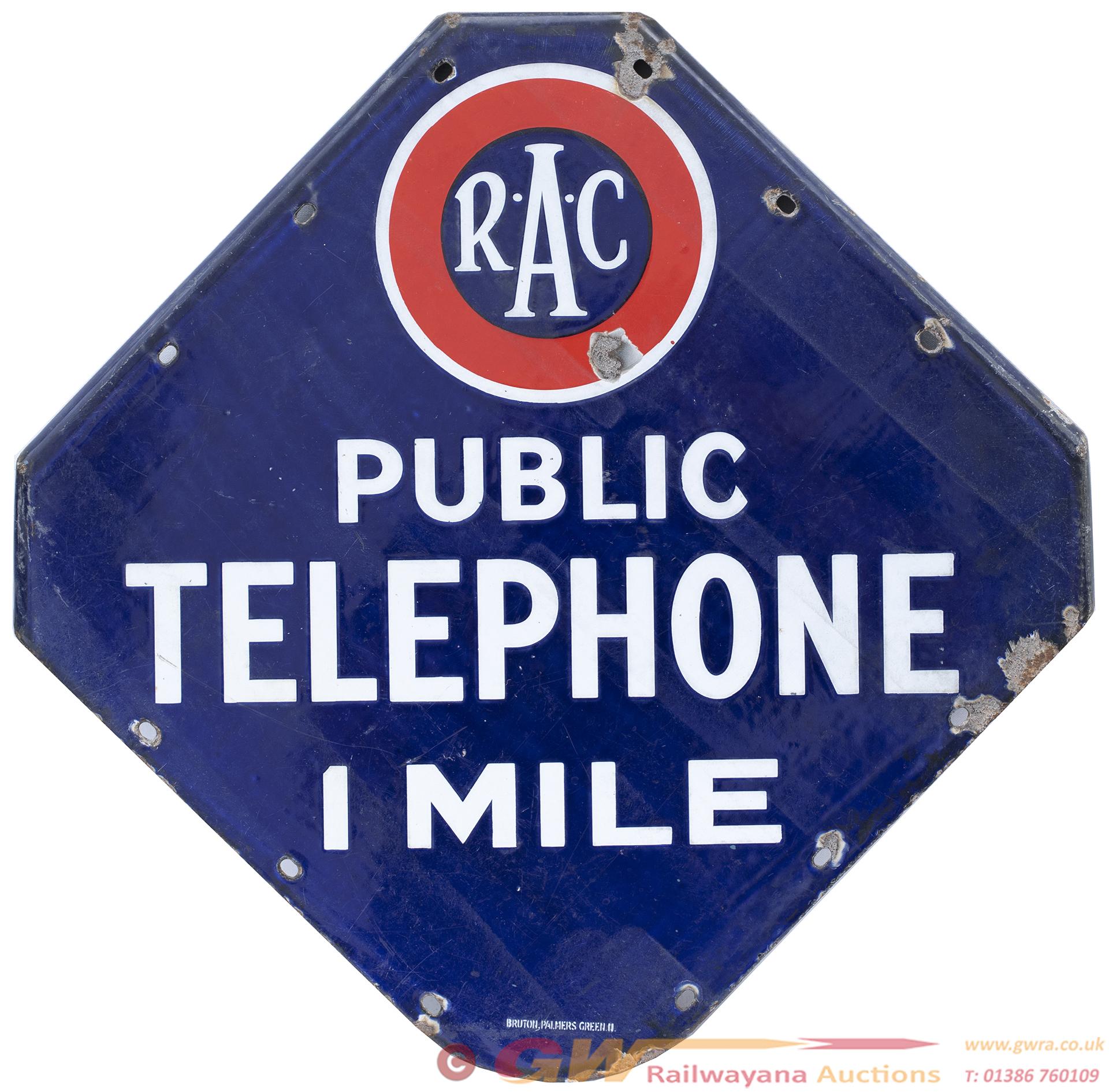 Motoring Enamel Sign RAC PUBLIC TELEPHONE 1 MILE.