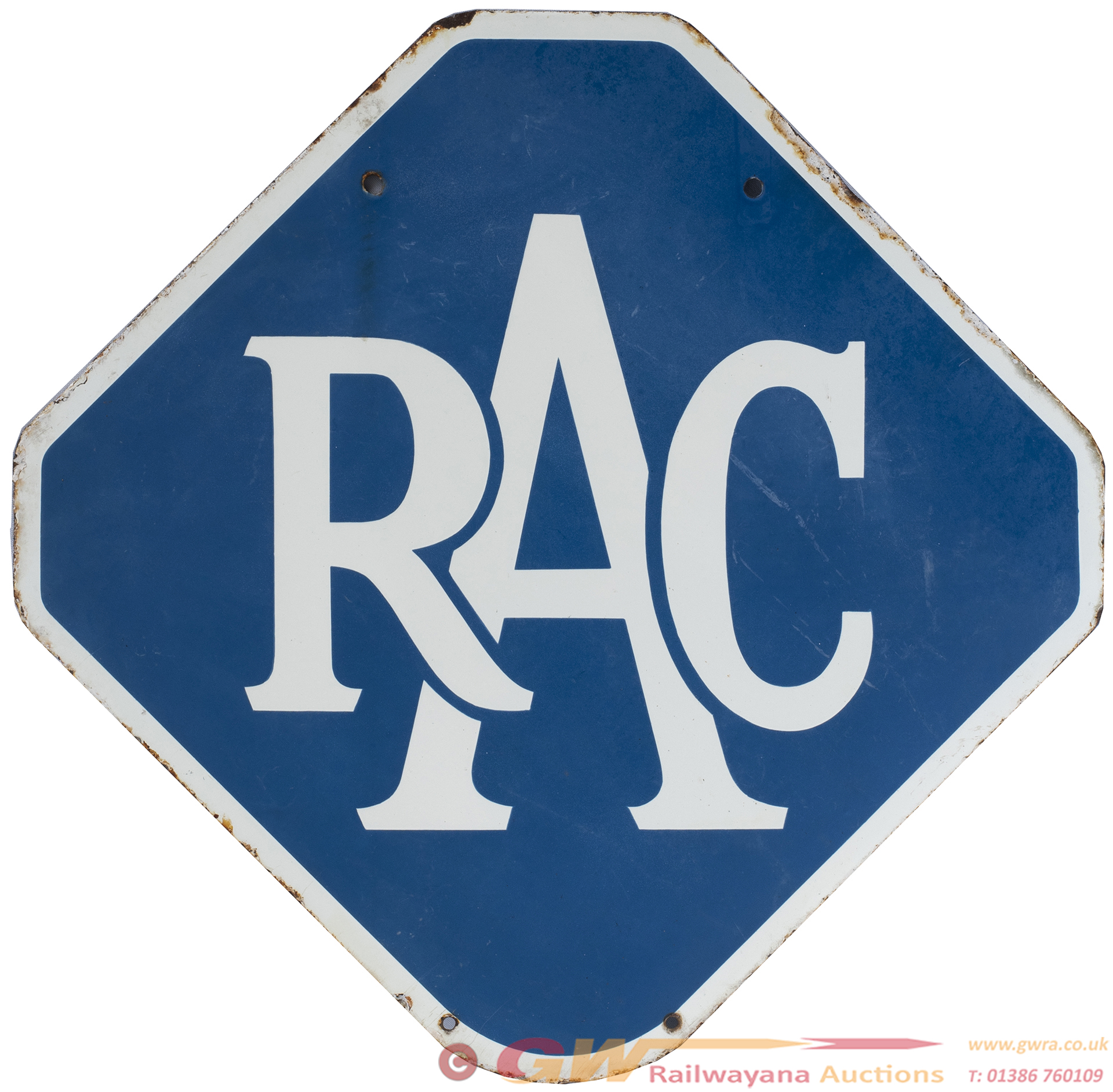 Motoring Enamel Sign RAC. Double Sided, Both Sides