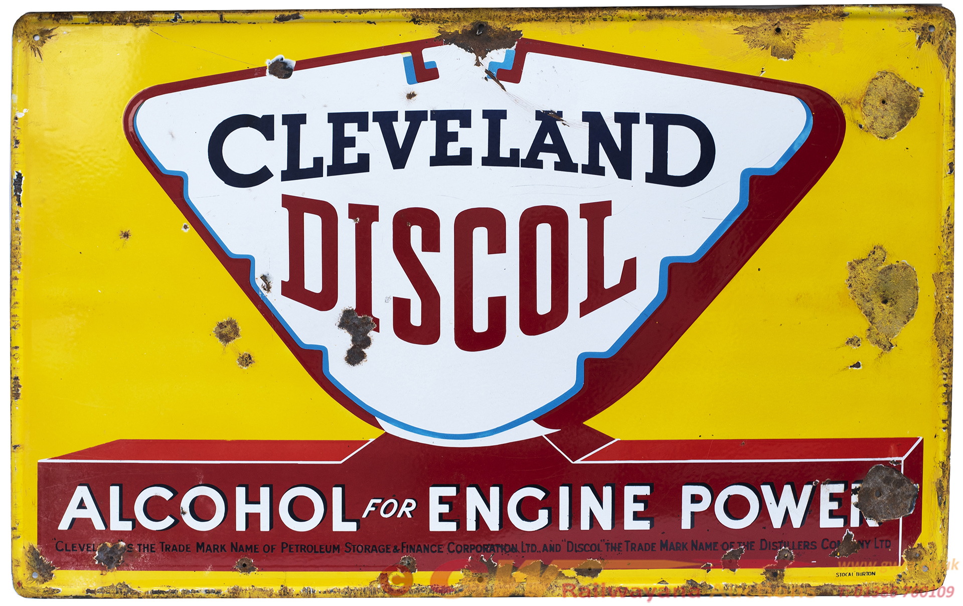 Motoring Enamel Sign CLEVELAND DISCOL ALCOHOL FOR