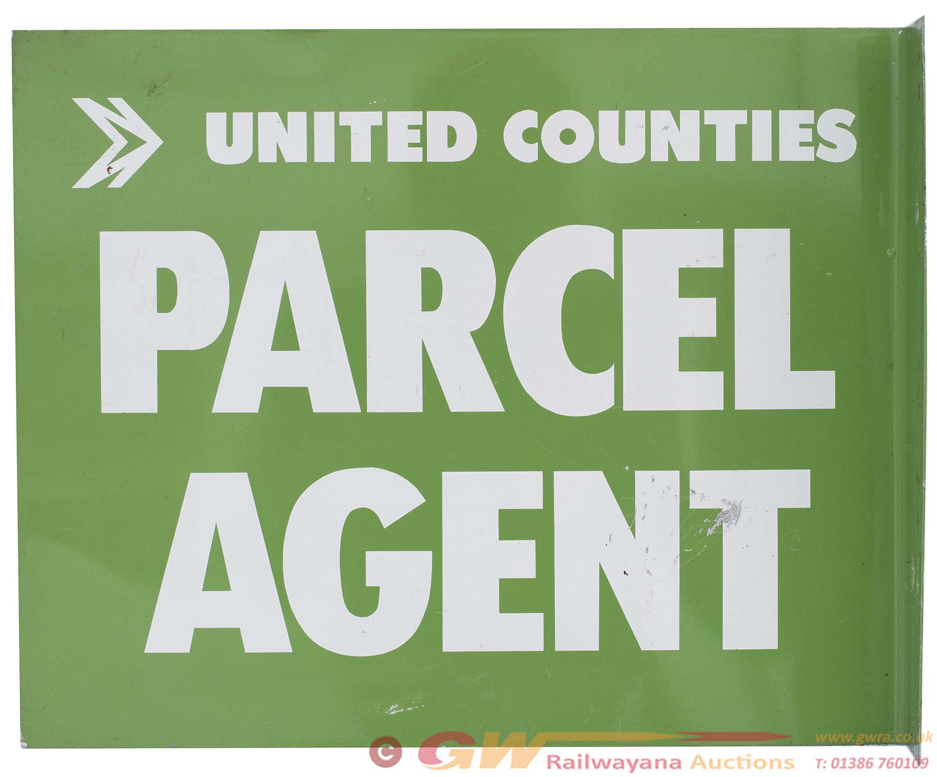 Motoring Bus Sign UNITED COUNTIES PARCEL AGENT.