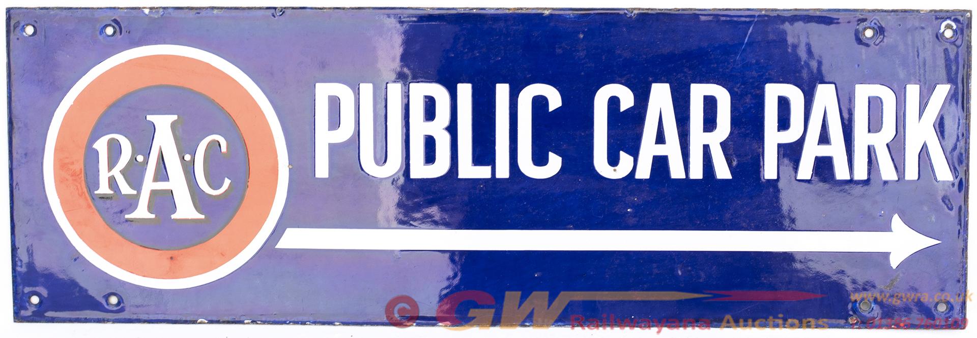 Motoring Enamel Double Sided Sign RAC PUBLIC CAR