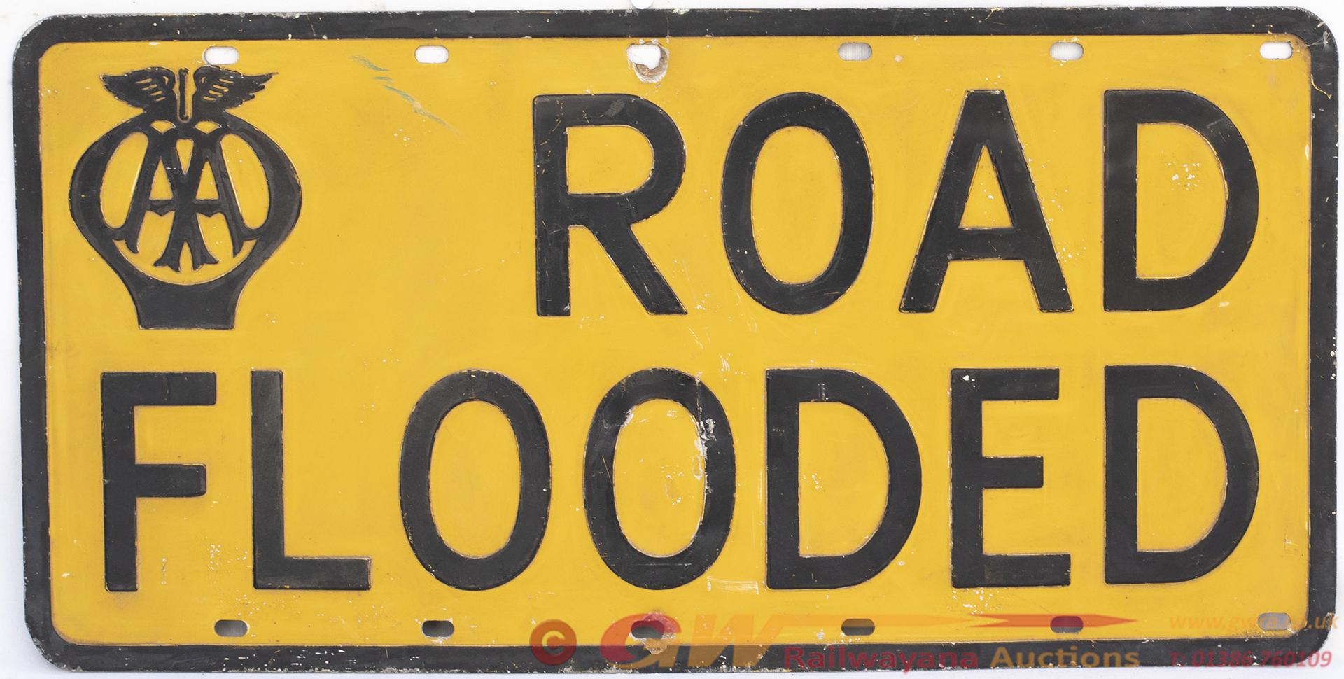 Motoring Sign AA ROAD FLOODED. Pressed Aluminium,