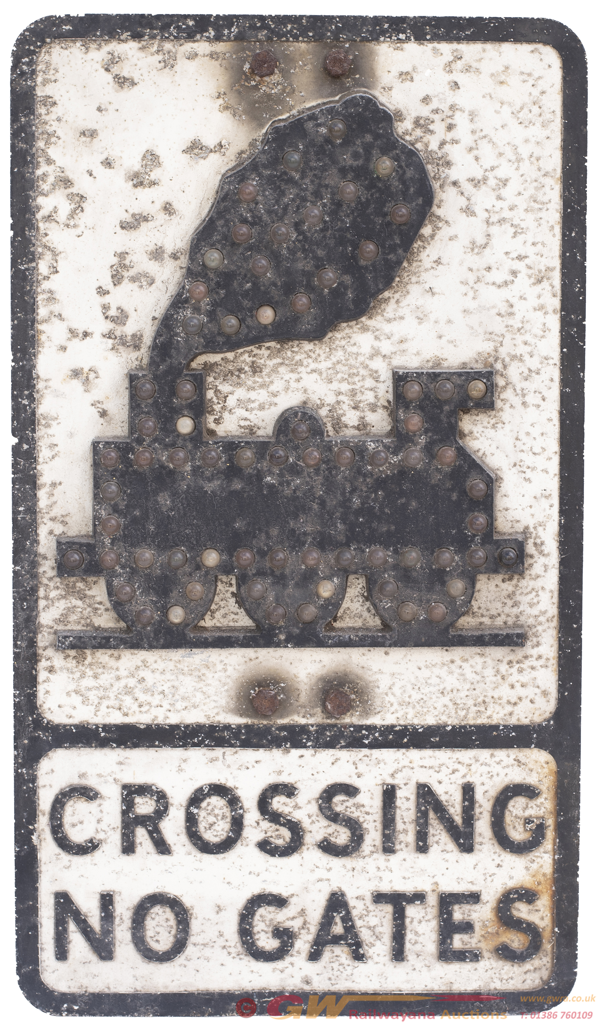 Road Motoring Sign CROSSING NO GATES With An 0-6-0