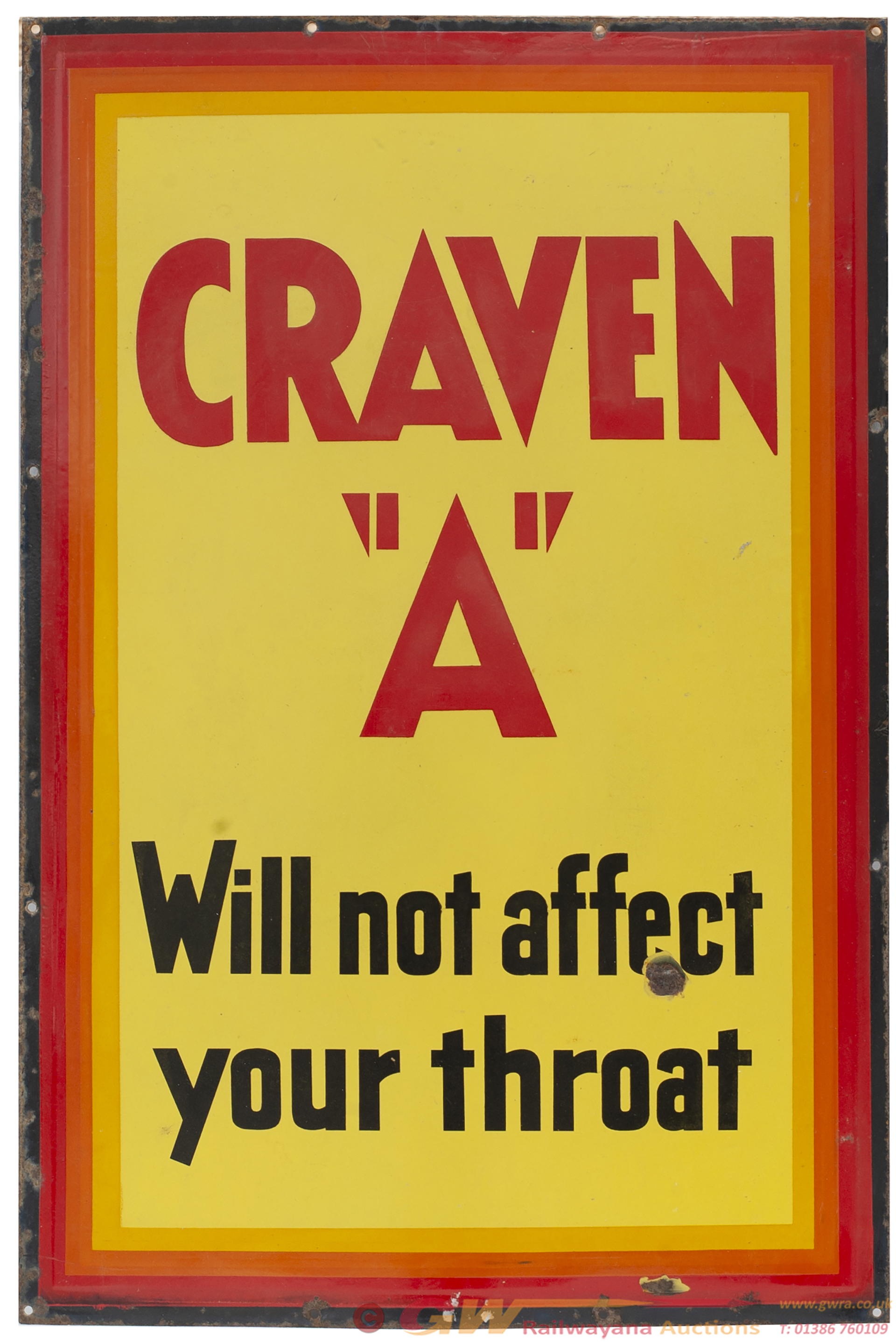 Advertising Enamel Sign CRAVEN A WILL NOT AFFECT