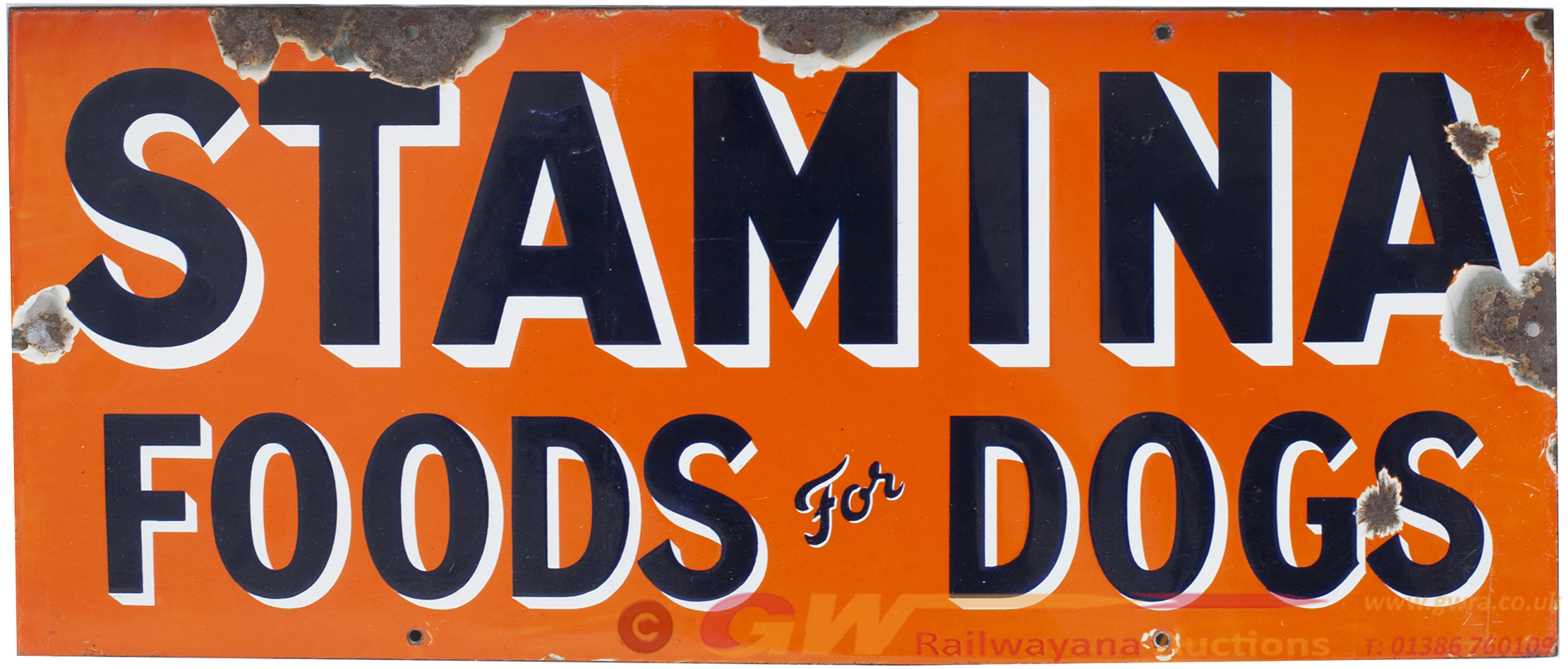 Advertising Enamel Sign STAMINA FOODS FOR DOGS