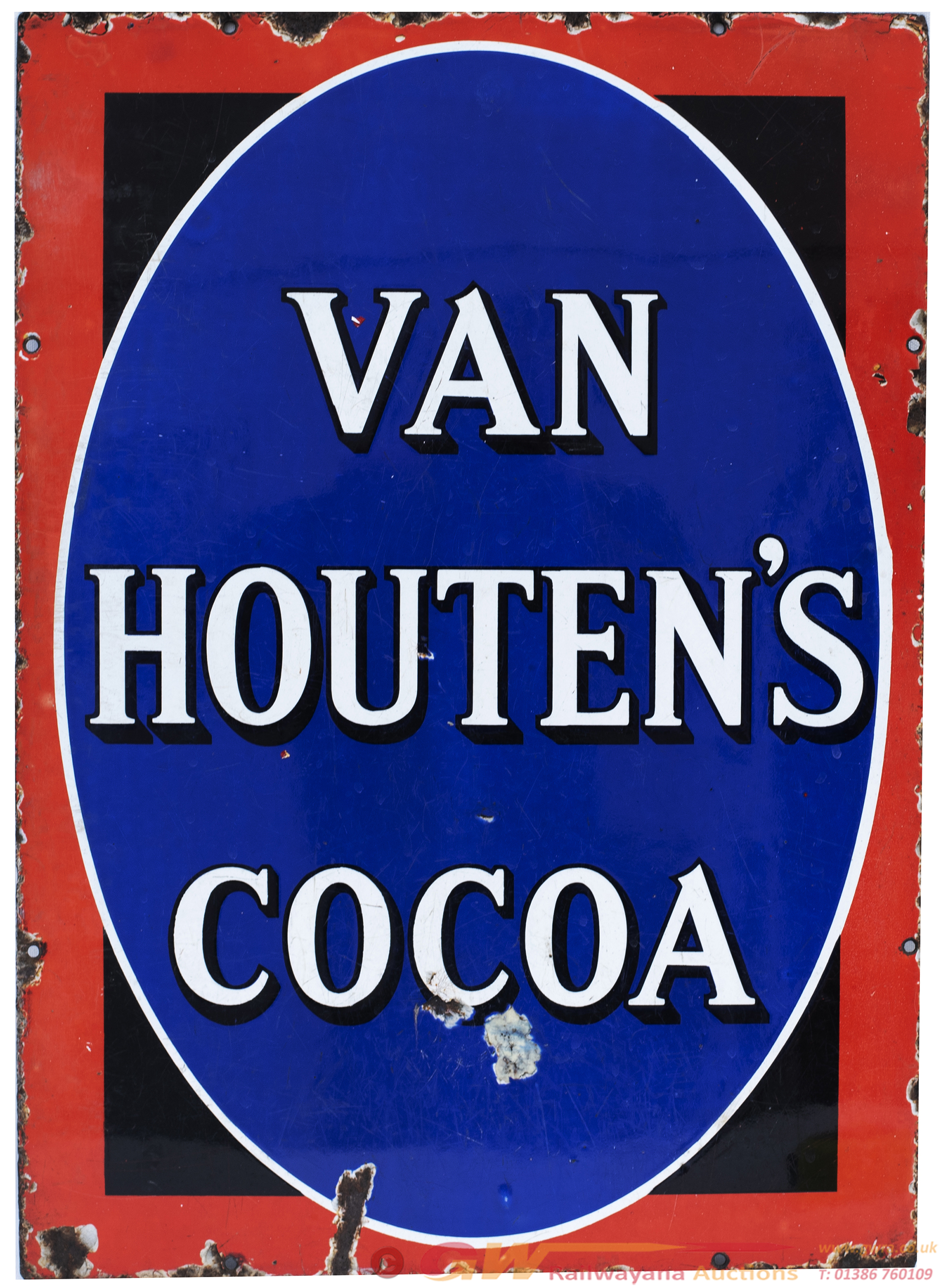 Advertising Enamel Sign VAN HOUTEN'S COCOA. In