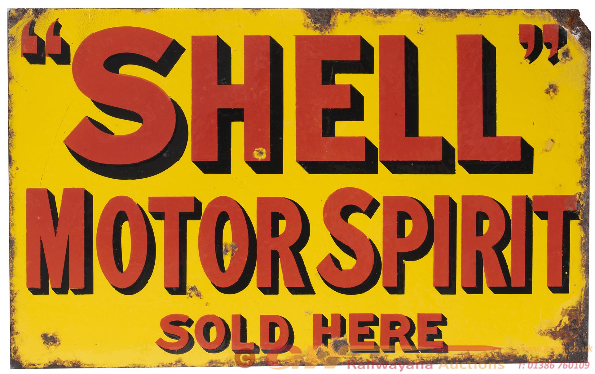 Advertising Enamel Sign SHELL MOTOR SPIRIT SOLD