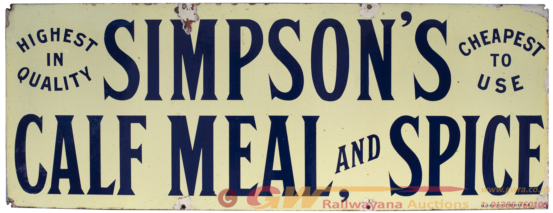Advertising Enamel Sign SIMPSON'S CALF MEAL AND