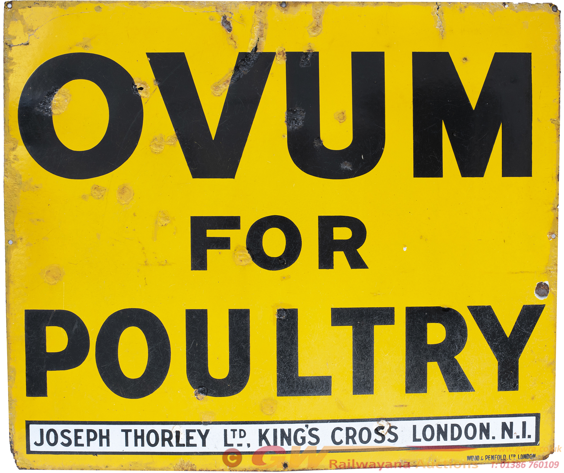 Advertising Enamel Sign OVUM FOR POULTRY. In Good