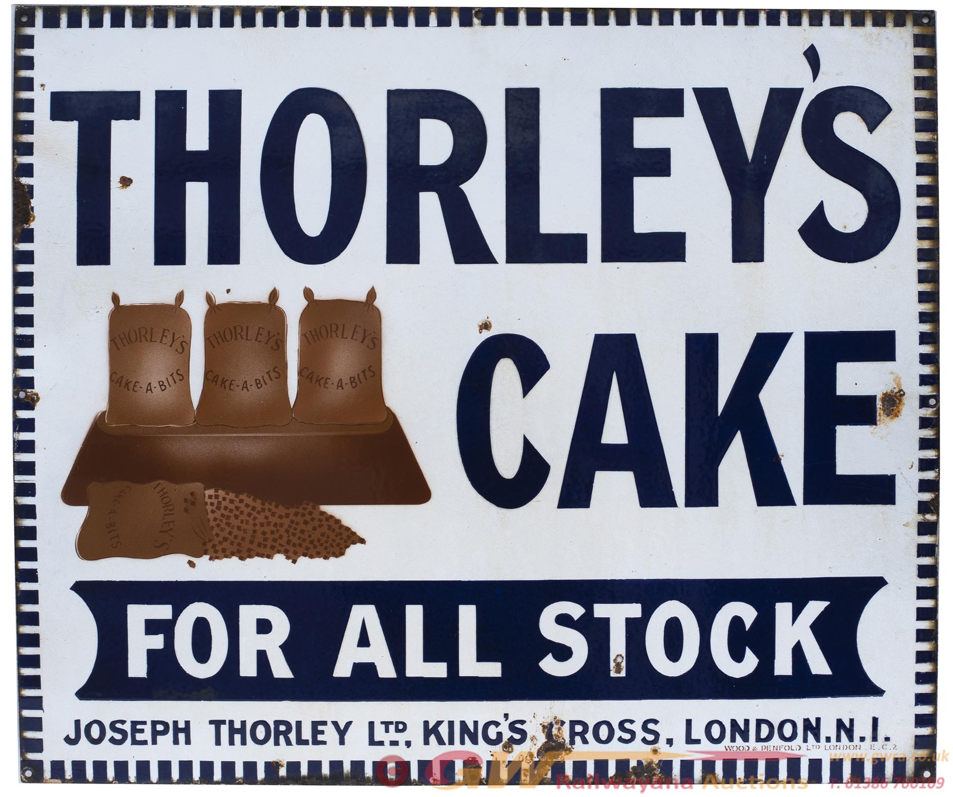 Advertising Enamel Sign THORLEY'S CAKE FOR ALL