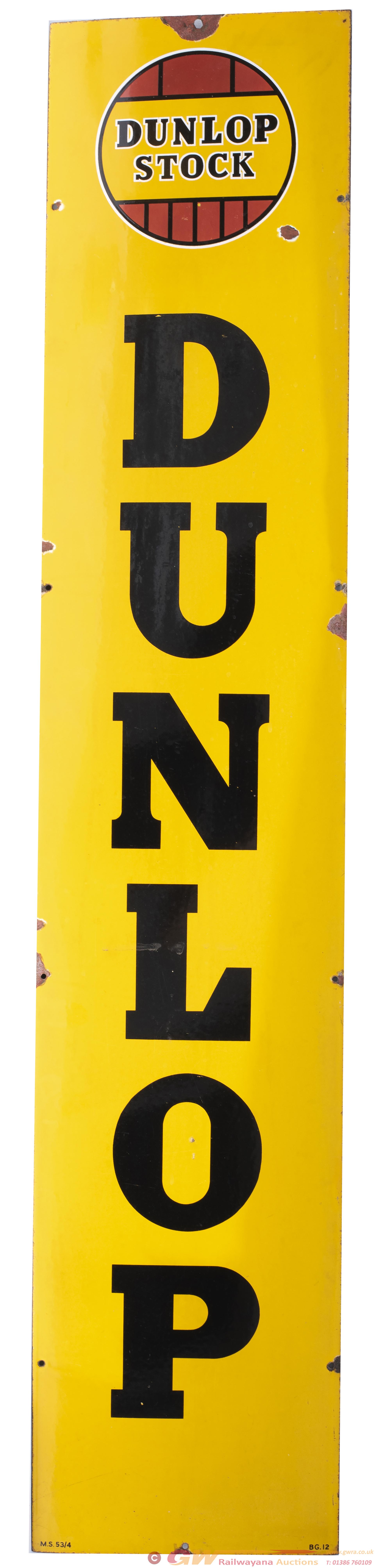 Advertising Enamel Sign DUNLOP STOCK With DUNLOP