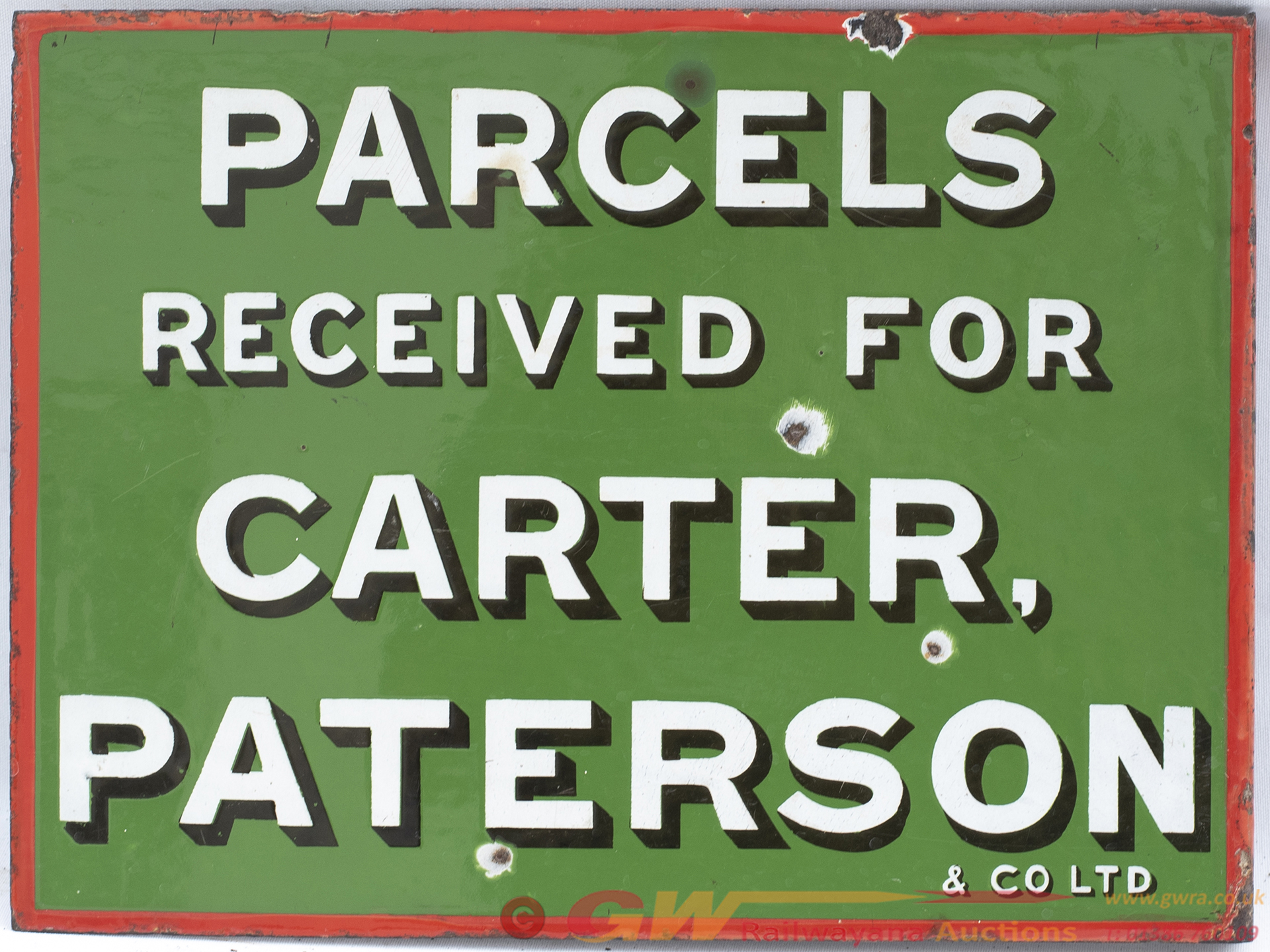 Advertising Enamel Sign PARCELS RECEIVED FOR